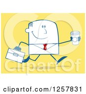 Clipart Of A Happy Businessman Running With A To Go Coffee Over Yellow Royalty Free Vector Illustration