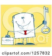 Clipart Of A Happy Businessman Holding Up A Key To Success Over Yellow Royalty Free Vector Illustration