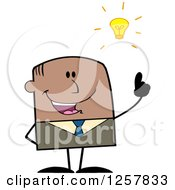 Clipart Of A Black Stick Businessman With A Bright Idea Royalty Free Vector Illustration