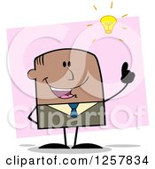 Clipart Of A Black Stick Businessman With A Bright Idea Over Pink Royalty Free Vector Illustration