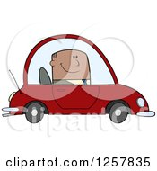 Clipart Of A Happy Black Business Man Commuting To Work In A Red Car Royalty Free Vector Illustration