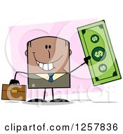 Clipart Of A Happy Black Businessman Holding Up A Giant Dollar Bill Over Pink Royalty Free Vector Illustration