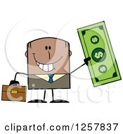 Clipart Of A Happy Black Businessman Holding Up A Giant Dollar Bill Royalty Free Vector Illustration