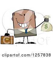 Clipart Of A Wealthy Black Businessman Winking And Holding A Money Bag Royalty Free Vector Illustration