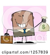 Clipart Of A Wealthy Black Businessman Winking And Holding A Money Bag Over Pink Royalty Free Vector Illustration
