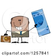 Clipart Of A Happy Black Businessman Holding Up A Giant Duro Bill Royalty Free Vector Illustration