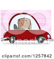 Clipart Of A Happy Black Business Man Commuting To Work In A Red Car Over Pink Royalty Free Vector Illustration