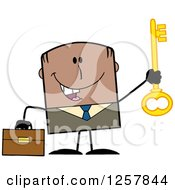 Clipart Of A Happy Black Businessman Holding Up A Key To Success Royalty Free Vector Illustration