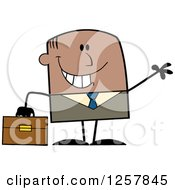 Clipart Of A Happy Black Businessman Waving And Holding A Briefcase Royalty Free Vector Illustration by Hit Toon
