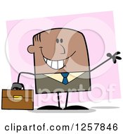 Clipart Of A Happy Black Businessman Waving And Holding A Briefcase Over Pink Royalty Free Vector Illustration