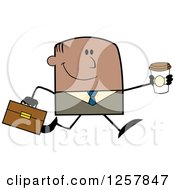 Clipart Of A Happy Black Businessman Running With A To Go Coffee Royalty Free Vector Illustration