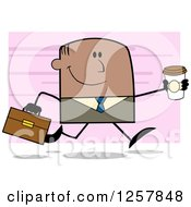 Clipart Of A Happy Black Businessman Running With A To Go Coffee Over Pink Royalty Free Vector Illustration