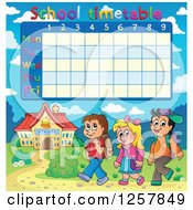 Clipart Of A School Timetable With Walking Children Royalty Free Vector Illustration by visekart
