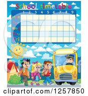 Clipart Of A School Timetable With Children Loading A Bus Royalty Free Vector Illustration by visekart
