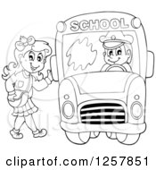 Clipart Of A Black And White School Girl Waving And Boarding A Bus Royalty Free Vector Illustration