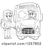 Clipart Of A Black And White Boy Boarding A School Bus Royalty Free Vector Illustration