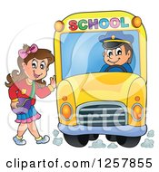 Brunette White School Girl Waving And Boarding A Bus