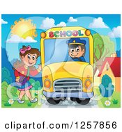 Clipart Of A Brunette White Girl Waving And Boarding A School Bus Royalty Free Vector Illustration