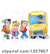 Clipart Of A Group Of School Children Boarding A Bus Royalty Free Vector Illustration by visekart