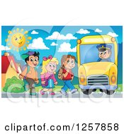 Clipart Of A Group Of School Children Boarding A Bus Royalty Free Vector Illustration