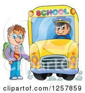 Clipart Of A Brunette White Boy Boarding A School Bus Royalty Free Vector Illustration