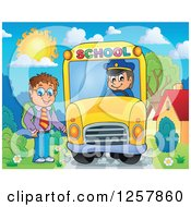 Clipart Of A Brunette White School Boy Boarding A Bus Royalty Free Vector Illustration