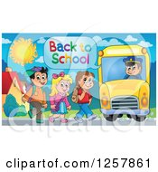 Clipart Of A Group Of Children Boarding A School Bus Royalty Free Vector Illustration