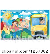 Clipart Of A Boy Holding A Back To School Sign And Boarding A Bus Royalty Free Vector Illustration by visekart