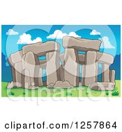 Clipart Of Ruins Of Stonehenge On A Sunny Day Royalty Free Vector Illustration