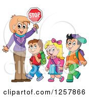 Clipart Of A Woman Crosswalk Guardian Holding A Stop Sign Over Walking School Children Royalty Free Vector Illustration