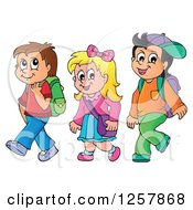Clipart Of Three Happy Caucasian School Children Walking Royalty Free Vector Illustration