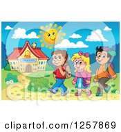 Clipart Of Three Happy Caucasian School Children Walking On A Sunny Day Royalty Free Vector Illustration