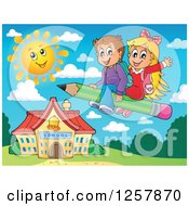 Clipart Of Happy Caucasian School Children Flying On A Pencil Over A School Building Royalty Free Vector Illustration by visekart