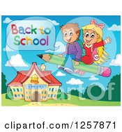 Clipart Of Happy Caucasian Children Saying Back To School And Flying On A Pencil Over A School Building Royalty Free Vector Illustration by visekart