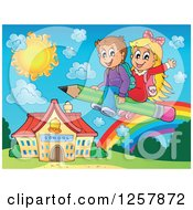 Clipart Of Happy Caucasian School Children Flying On A Pencil Over A Rainbow And School Building Royalty Free Vector Illustration by visekart