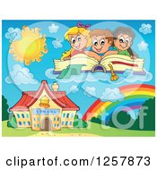 Group Of Caucasian School Children Reading A Book Over A Rainbow And Building