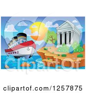 Clipart Of The Acropolis Of Athens With A Cruise Ship In Greece Royalty Free Vector Illustration