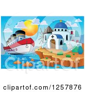 Clipart Of A Cruiseship By A Coastal Greek Church And Windmill Royalty Free Vector Illustration by visekart