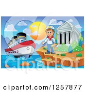 Clipart Of The Acropolis Of Athens With A Cruise Ship And Sailor In Greece Royalty Free Vector Illustration