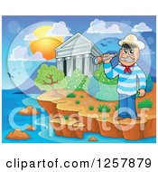 Clipart Of The Acropolis Of Athens With A Captain In Greece Royalty Free Vector Illustration