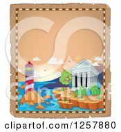 Clipart Of The Acropolis Of Athens With A Lighthouse In Greece On Aged Parchment Royalty Free Vector Illustration