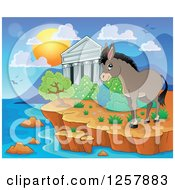 Clipart Of The Acropolis Of Athens With A Donkey In Greece Royalty Free Vector Illustration by visekart