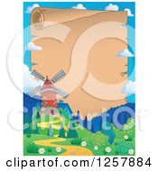 Clipart Of A Windmill Frame Around An Aged Parchment Scroll Royalty Free Vector Illustration