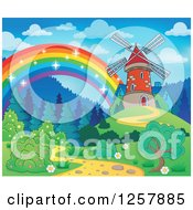 Clipart Of A Rainbow Ending At An Old Windmill Royalty Free Vector Illustration by visekart