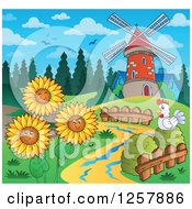 Clipart Of A Chicken And Happy Summer Sunflowers By A Windmill Royalty Free Vector Illustration by visekart