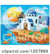 Clipart Of A Coastal Greek Church And Windmill Royalty Free Vector Illustration by visekart