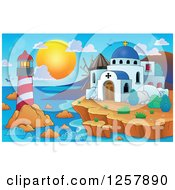 Clipart Of A Coastal Greek Church Lighthouse And Windmill Royalty Free Vector Illustration by visekart