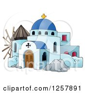 Clipart Of A Windmill And A Greek Church Royalty Free Vector Illustration
