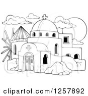 Clipart Of A Black And White Windmill And A Greek Church Royalty Free Vector Illustration by visekart