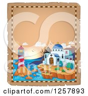 Clipart Of A Coastal Greek Church Lighthouse And Windmill On Aged Parchment Royalty Free Vector Illustration by visekart